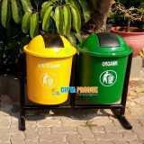 Tempat sampah fiber double organik dan nonorganik - Foto 3