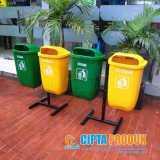 Tong sampah fiber 2 pilah organik dan nonorganik - Foto 2