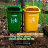 Tempat sampah fiber outdoor 2 in 1