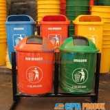 Tempat sampah fiber bulat pilkah 2 in 1 - Foto 1