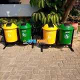 Tempat sampah fiber bulat pilkah 2 in 1 - Foto 2