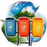 Tong sampah fiber oval organik nonorganik B3 - Foto 1