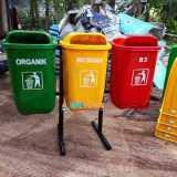 Tong sampah fiber oval organik nonorganik B3 - Foto 3